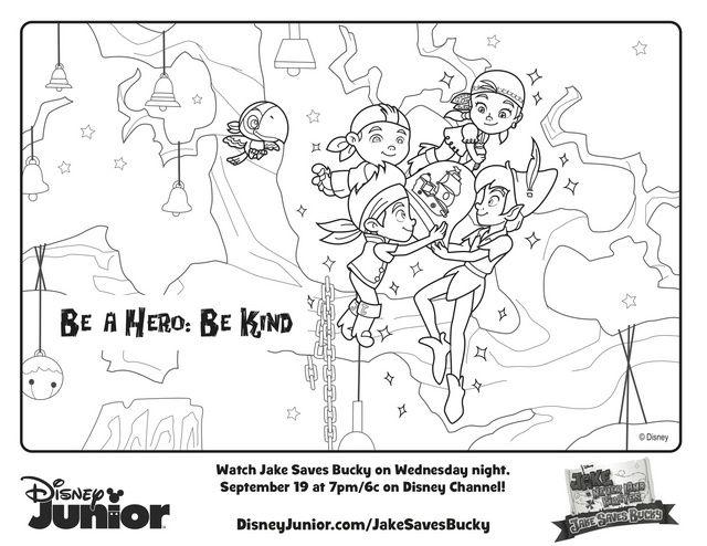 Jake Saves Bucky Peter Pan - Free Printable Coloring Pages | Disney ...