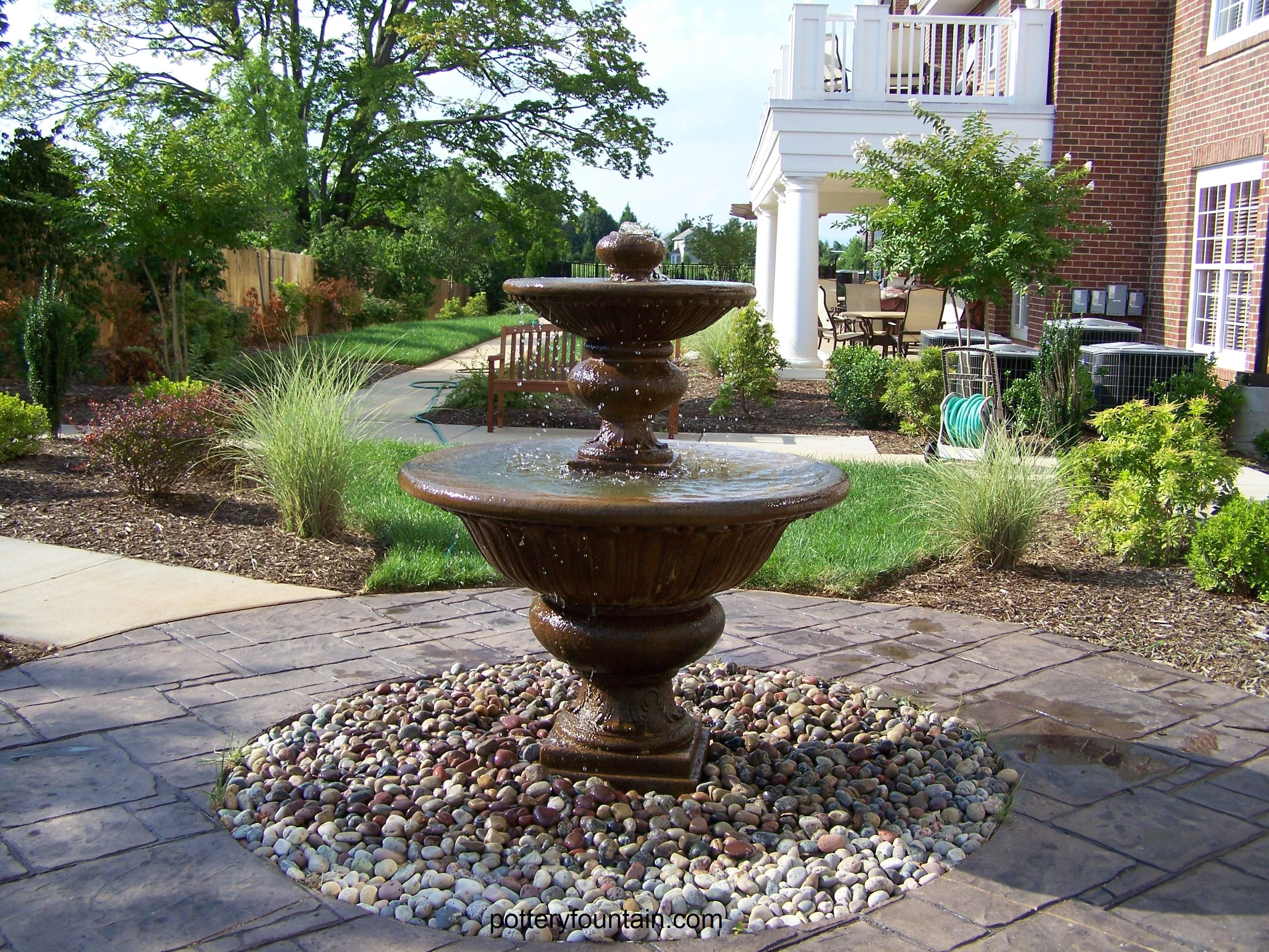 Classic Tiered Fountain On One Of Our Disappearing Fountain Basins Garden Fountains Garden Design Beautiful Outdoor Spaces