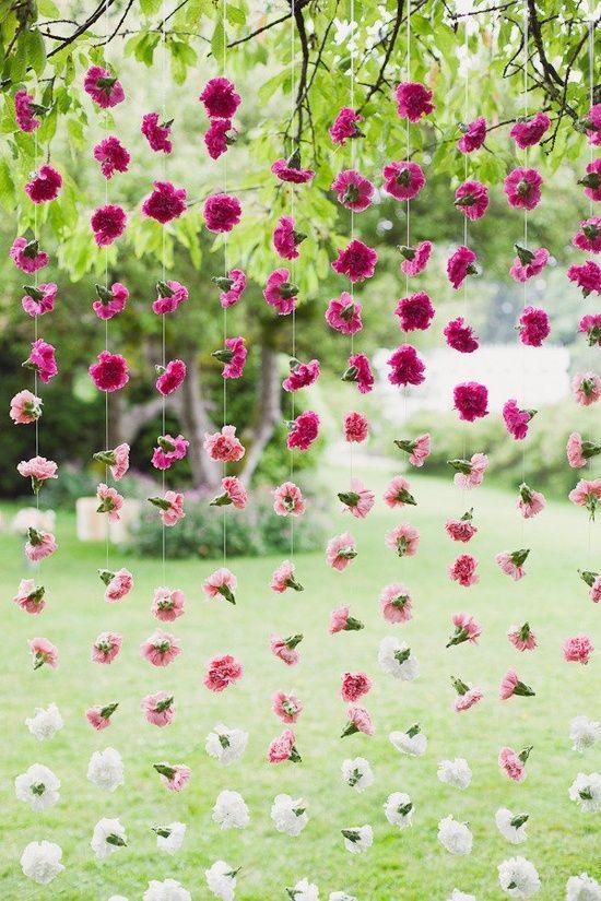 cortina de flores decoración boda