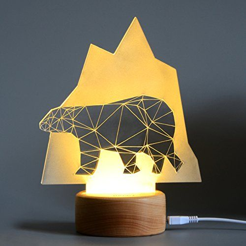 Threecat Led Night Light 3d Illusion Desk Lamp Multiple Fashion Home Decorations Beech Wood Base Suitable For Kids Bedroom Led Lamp Animal Lamp 3d Night Light