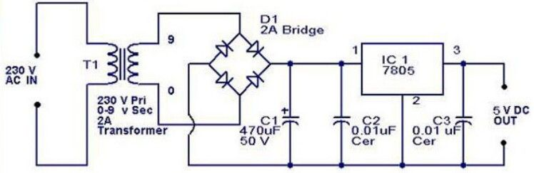 5v Regulated Power Supply Electronic Circuits Pinterest