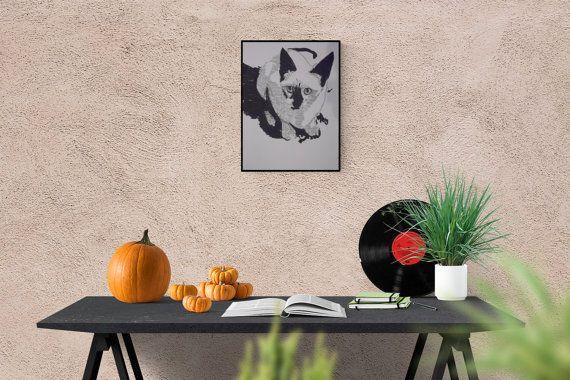 Cat Art: Siamese Cat, original art, Hand made Pop Art illustration, hand-signed, unique piece, free dispatch #cat #SiameseCat #cats