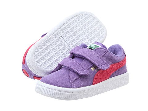 755a79558d Puma Kids Suede 2 Straps (Toddler/Little Kid/Big Kid) Dahlia  Purple/Paradise Pink - Zappos.com Free Shipping BOTH Ways