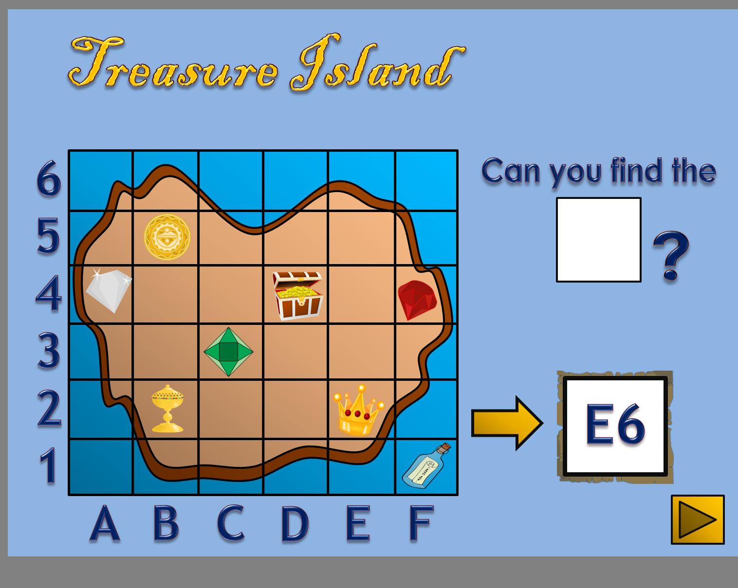 Treasure Island Coordinate Map Skills