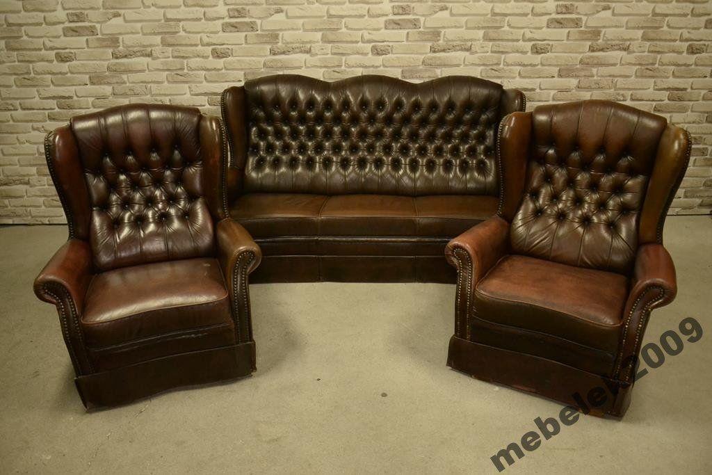 Pikowany Skorzany Komplet Wypoczynkowy 3 1 1 6288146315 Oficjalne Archiwum Allegro Chesterfield Chair Accent Chairs Decor