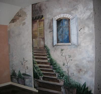 Faux Painted wall Love It! Walls and Floors Pinterest Trompée
