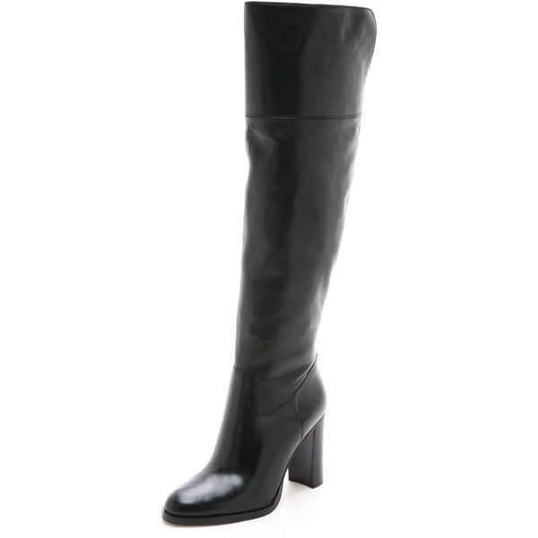 MICHAEL Michael Kors Regina Tall Zip Boots (81.510 HUF) ❤ liked on Polyvore featuring shoes, boots, black, black over knee boots, shiny black boots, side zip boots, black leather shoes et leather boots