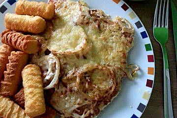Überbackene Zwiebel - Sahne - Schnitzel