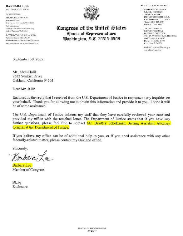 Congresswoman Barbara Lee Letter Referring Usag Bradley Scholzman