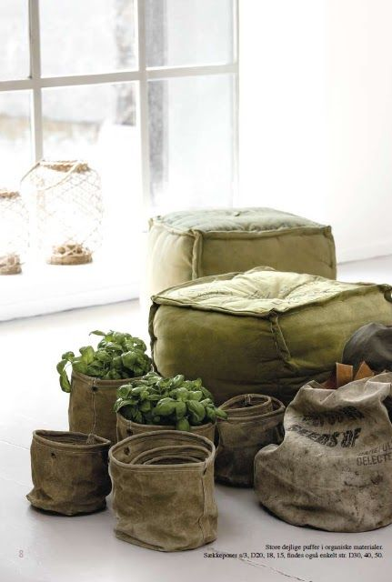 poufs and fabric buckets. Could dip dye muslin fabric buckets.
