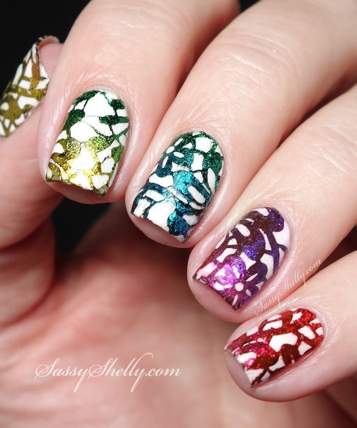 Nail Art Tutorial - stamping with Nail Foils! Rainbow Gradient foil ...