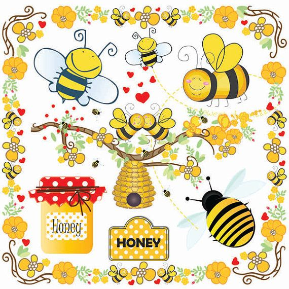 Bees Clip Art-Bumble Bee Beehive Clip Art-Buzzy Bee by SmartPrint