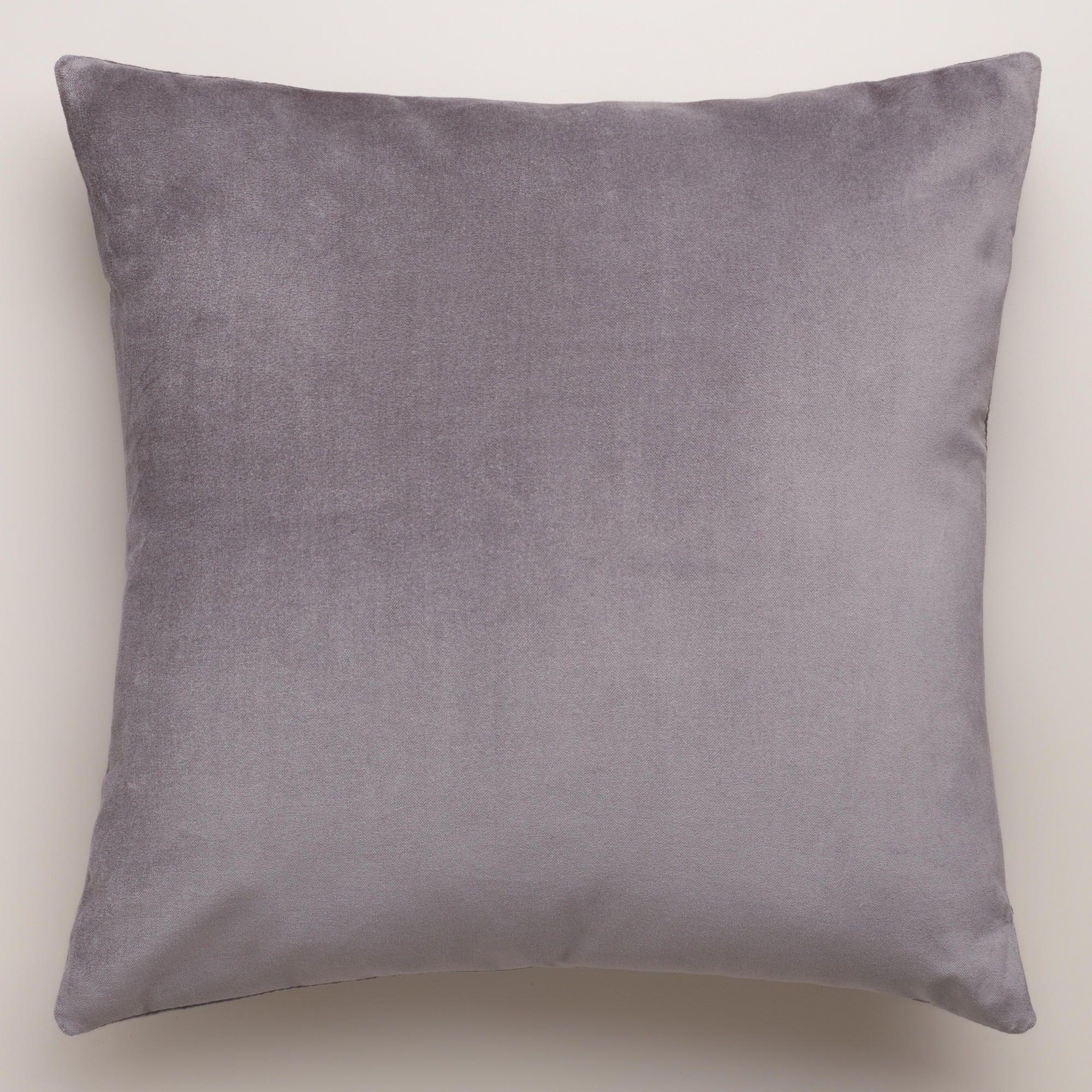 """Gray-Velvet Throw Pillows (Cost Plus World Market) (15"""" square ..."""
