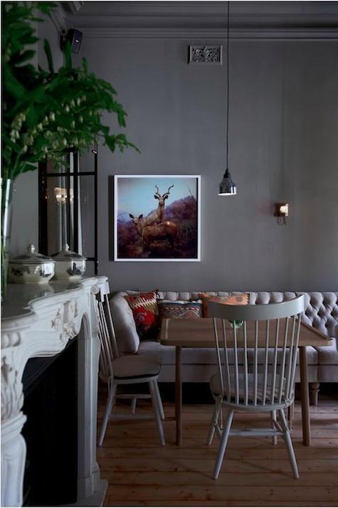 Dark wall in dining room.