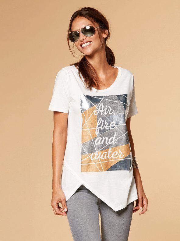 2f9f13233f Camiseta mujer asimétrica con estampado metalizado Blusas 2017