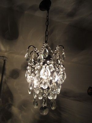 Antique Vintage French Brass Cage Style Crystal Chandelier 1940s