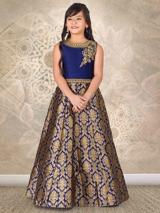 Shop Navy designer silk wedding wear gown online from G3fashion ...