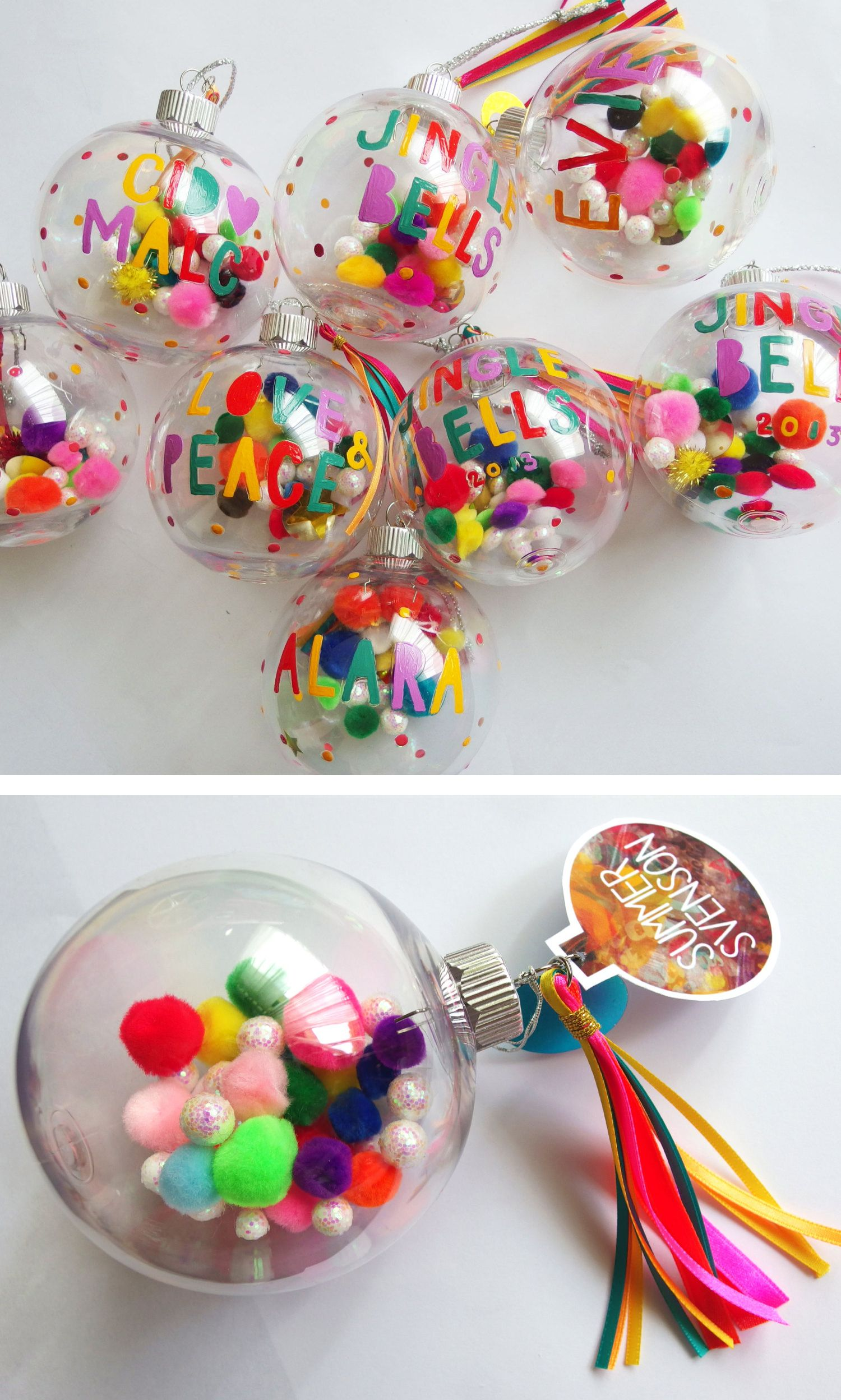 Personalised Christmas bauble Colourful modern font hand painted