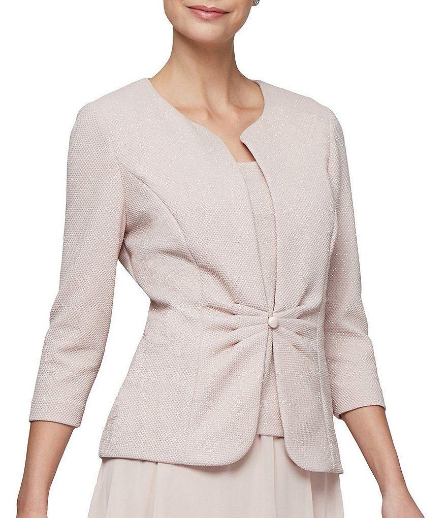 946b4dbcc75 Color Pale Blush - Image 4 - Alex Evenings Mock Chiffon 2-Piece Tuck Front Glitter  Jacket Dress