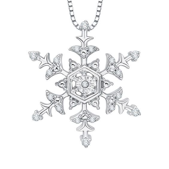 Diamond Accent Snowflake Pendant In 10k White Gold White Gold White Gold Diamonds Snowflake Jewelry