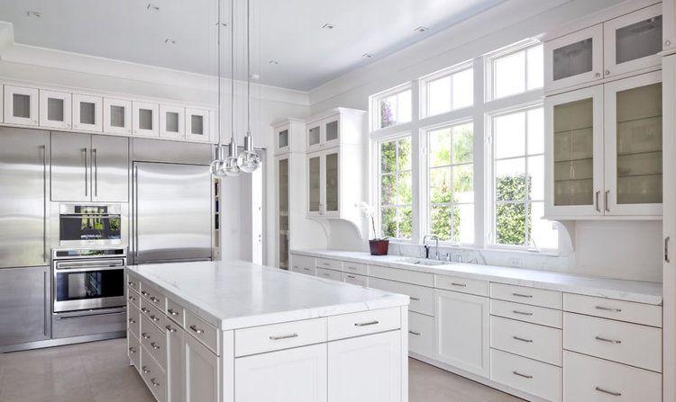 Whitekitchen Huge Windows In The Bright Airy Kitchen Marble Liances
