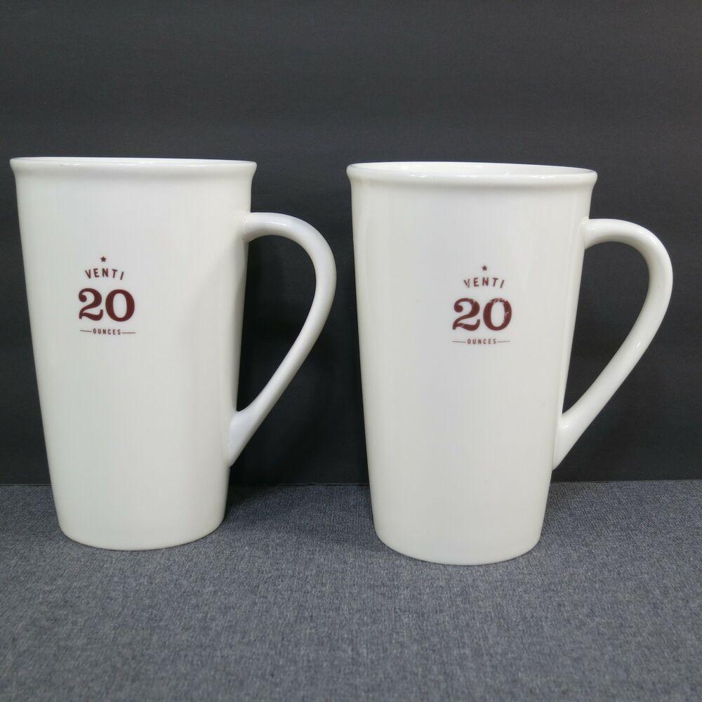 Set Of 2 Starbucks Venti 20 Ounce Tall Latte Coffee Cups