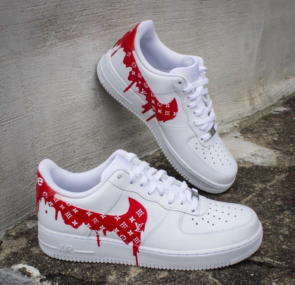 Nike Men's Air Force 1 Sneakers - Size 9 US White CUSTOM ...