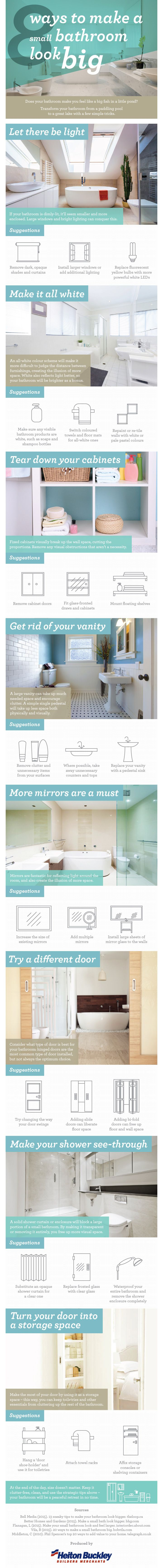 8 Ways To Make A Small Bathroom Look Big #Infographic