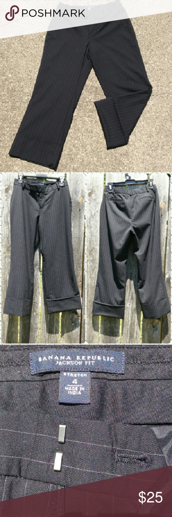 "Jackson Fit capri dress pants Black with soft silver lines. Shell is 94% wool, 4% spandex, 2% other fiber. Lining is 95% poly, 5% spandex. Dry clean only. Color is true to first picture. Next to new. Inseam is 25"" Banana Republic Pants Ankle & Cropped"