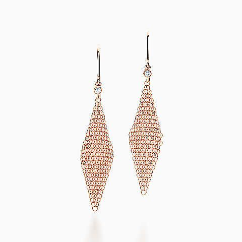 bc722a69d58cf4 Elsa Peretti® Mesh earrings in 18k rose gold with diamonds, mini ...