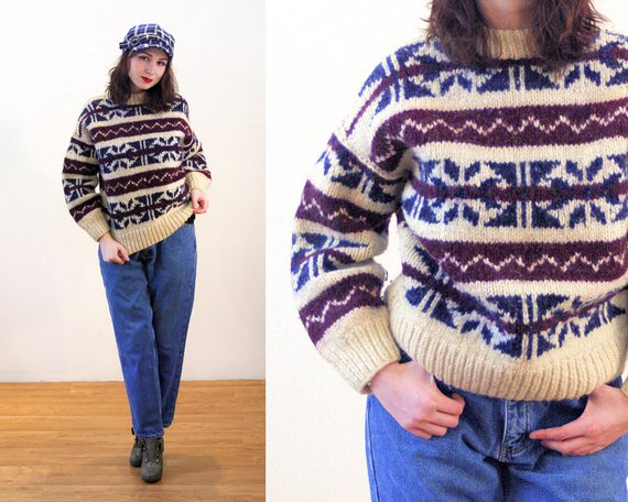 Women Ladies Retro Knitted Jumper Pullover Sweater Geometric Thick Warm Top Coat