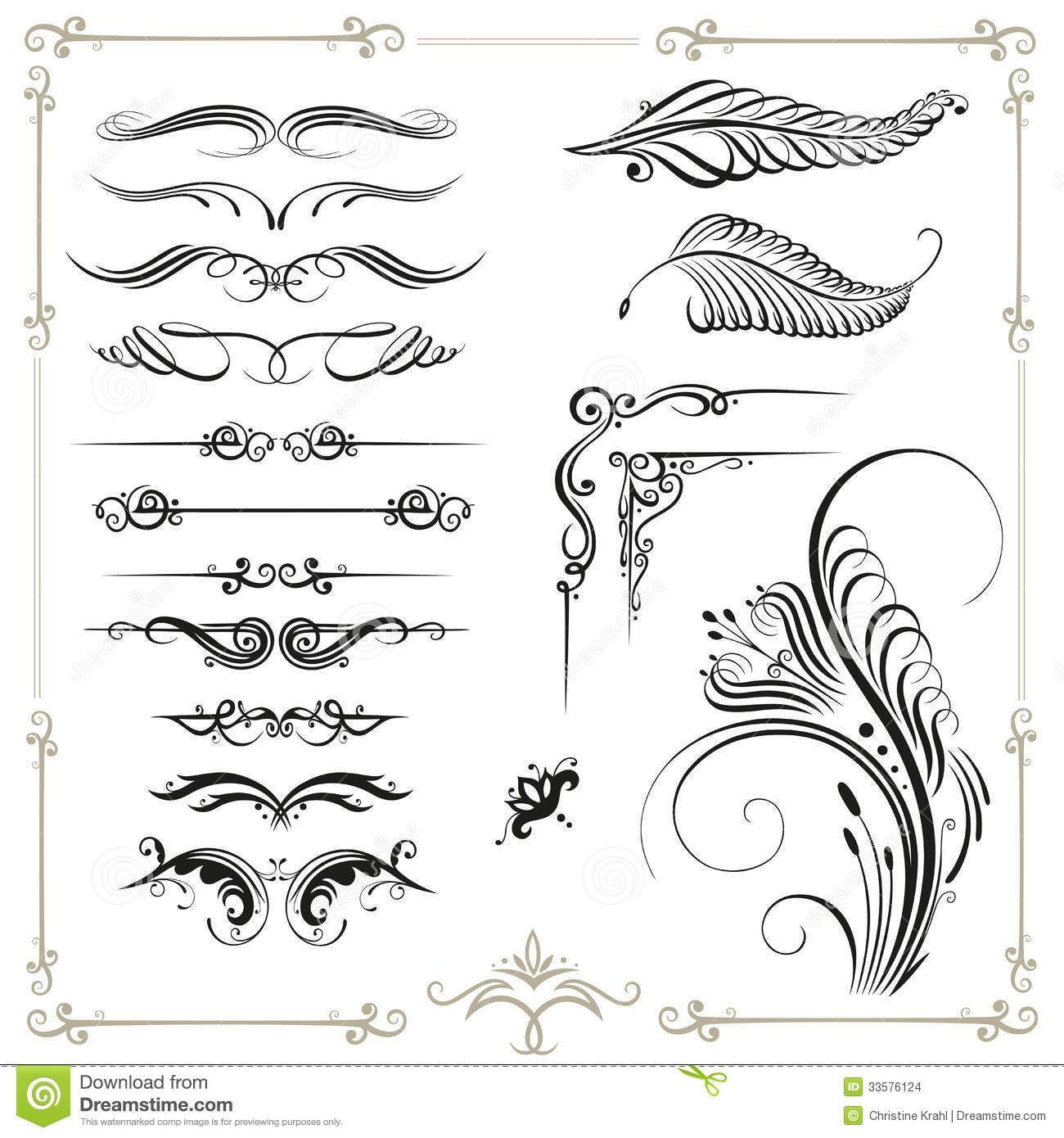 Calligraphy Border Vector Set Vintage Design Elements 33576124 1300x1390