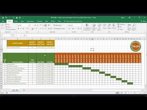 Tech 005 Create A Quick And Simple Time Line Gantt Chart In Excel Youtube Gantt Chart Gantt Excel