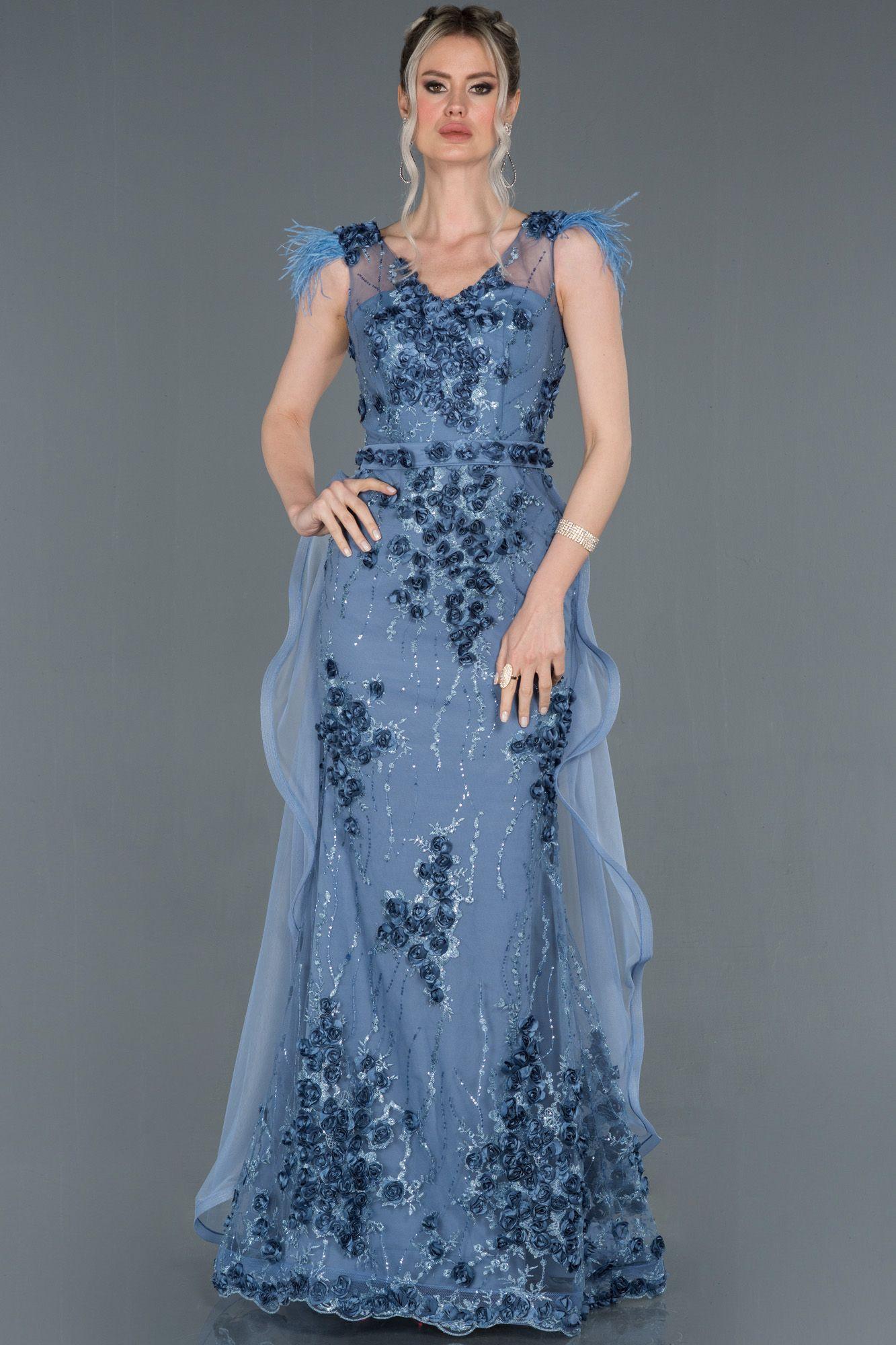 Indigo Omuzlari Otrisli Gul Islemeli Abiye Elbise Abu1202 2020 Elbise Modelleri The Dress Elbise