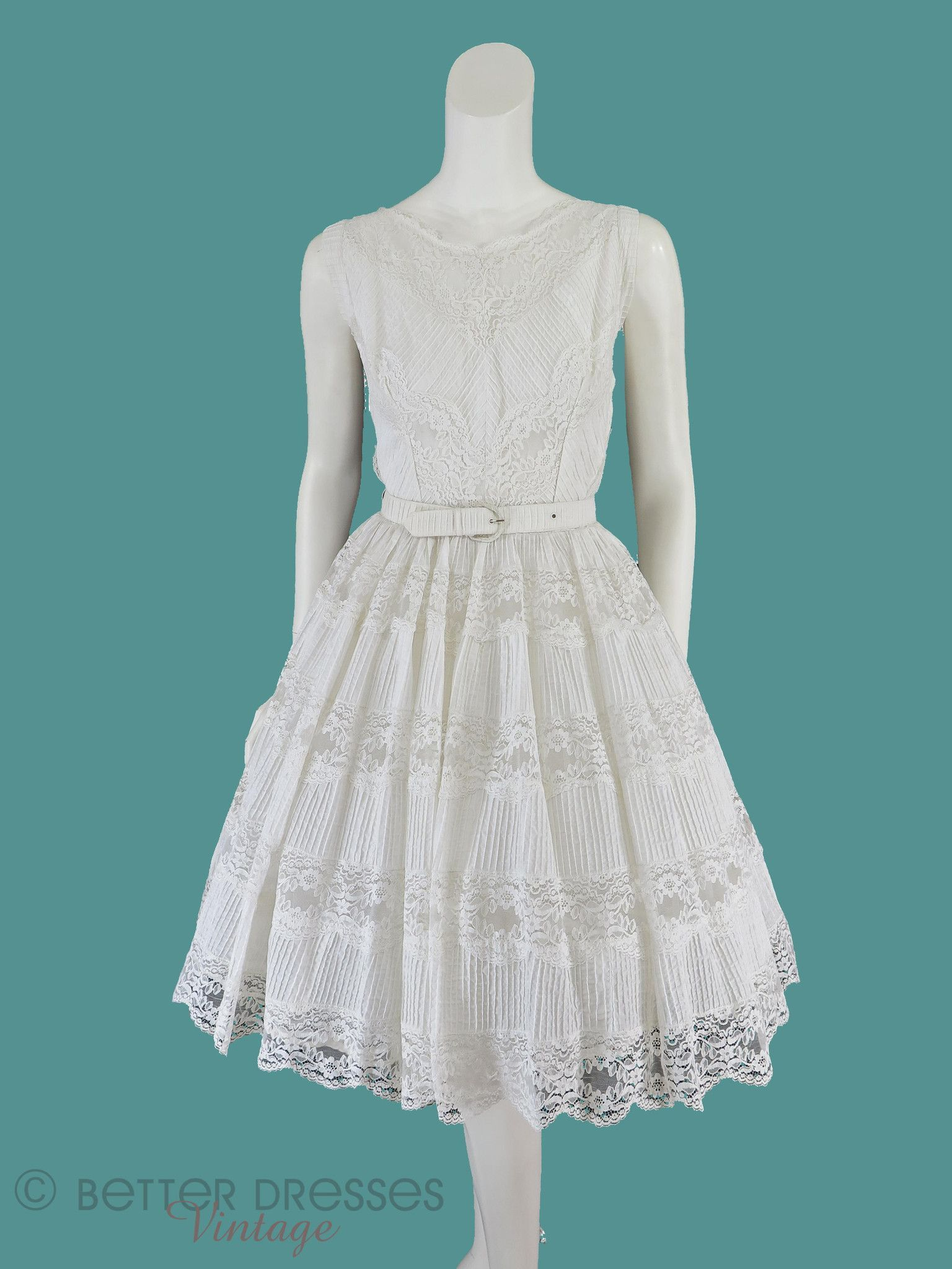 50s White Lace Full Skirt Party Dress - sm   Full skirts, White lace ...
