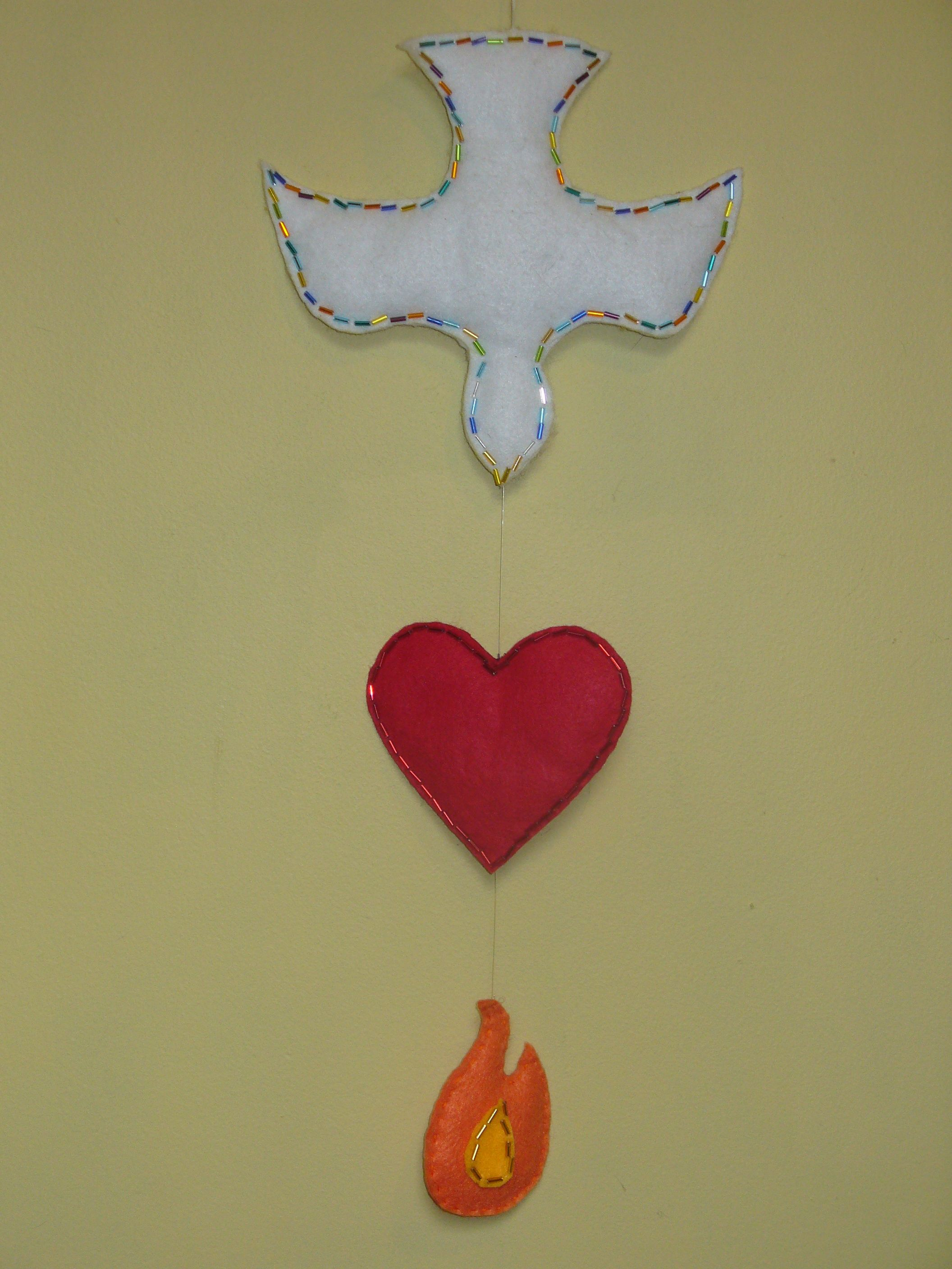 Holy Spirit Craft Made With Felt And Trimmed With Beads