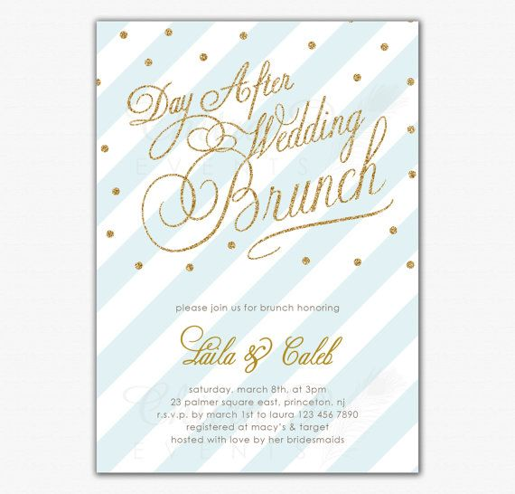 Post Wedding Brunch Invitation   Printed Or Printable, Wedding Invite,  Bridal Shower Gold Striped