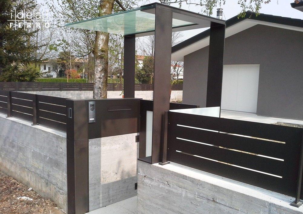 Pensilina in vetro ed acciaio pensiline tettoie serre pinterest acciaio cancelletto e - Pensiline ingresso casa ...