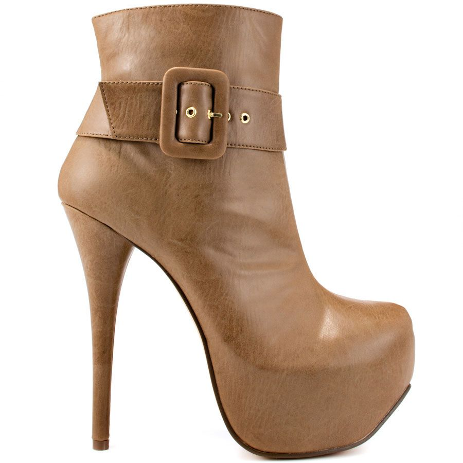 Deliver high fashion with every step in this chic Luichiny bootie.  Long Dance features a faux black leather with large buckle design at the side.  A high 6 inch stiletto heel and 2 inch platform completes this party look.