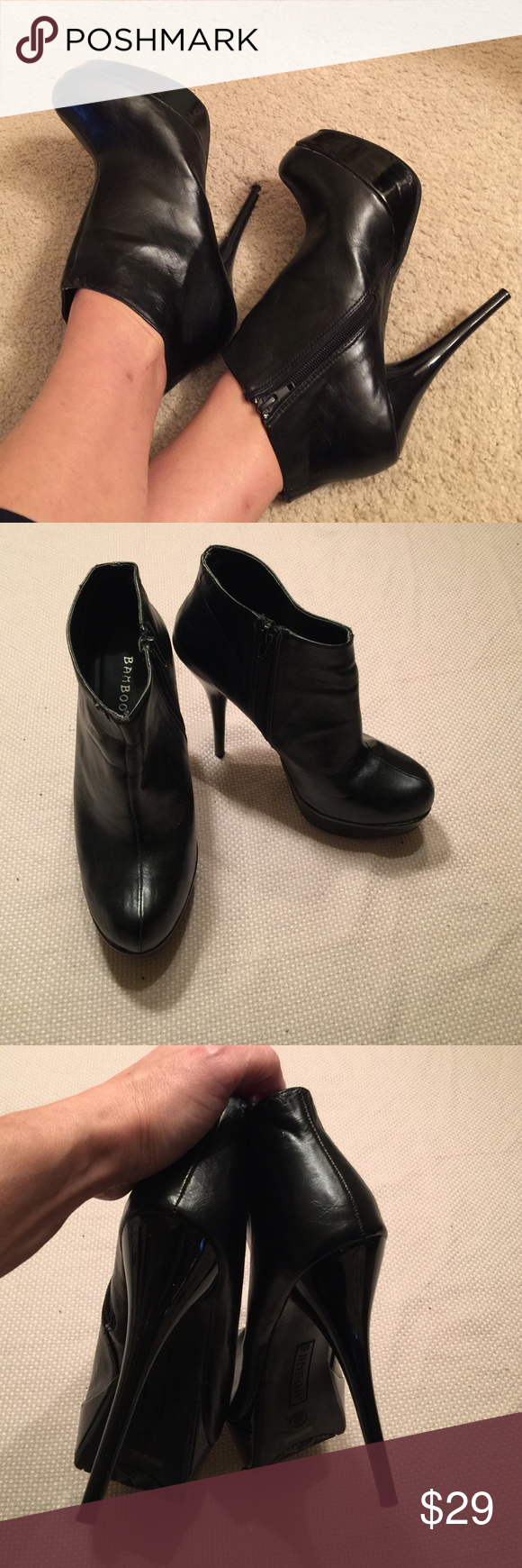 Very Sexy Black platform ankle boot Sexy black faux leather with glossy black Platform and heel ankle zip booties, worn one time size in excellent condition 7.5 Bamboo Shoes Ankle Boots & Booties