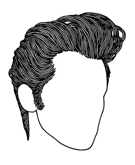 Line Drawing Hair : Rockabilly haircut hairstyle for men high shine slicked