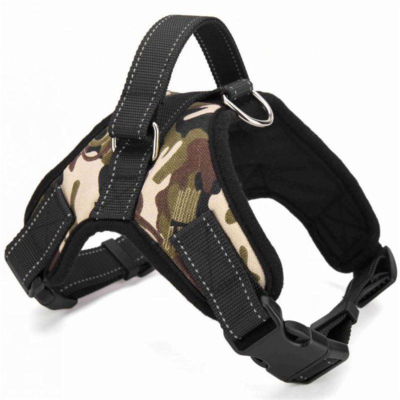 Hot Sale Big Dog Soft Adjustable Harness Heavy Duty Nylon Dog Pet Harness Padded Extra Large Medium Small Dog Harness SMYK005