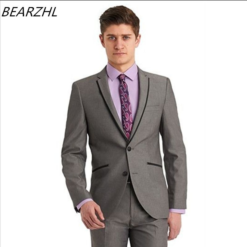 designer prom suits tuxedo 3 piece suit grey men suit tailor groom ...