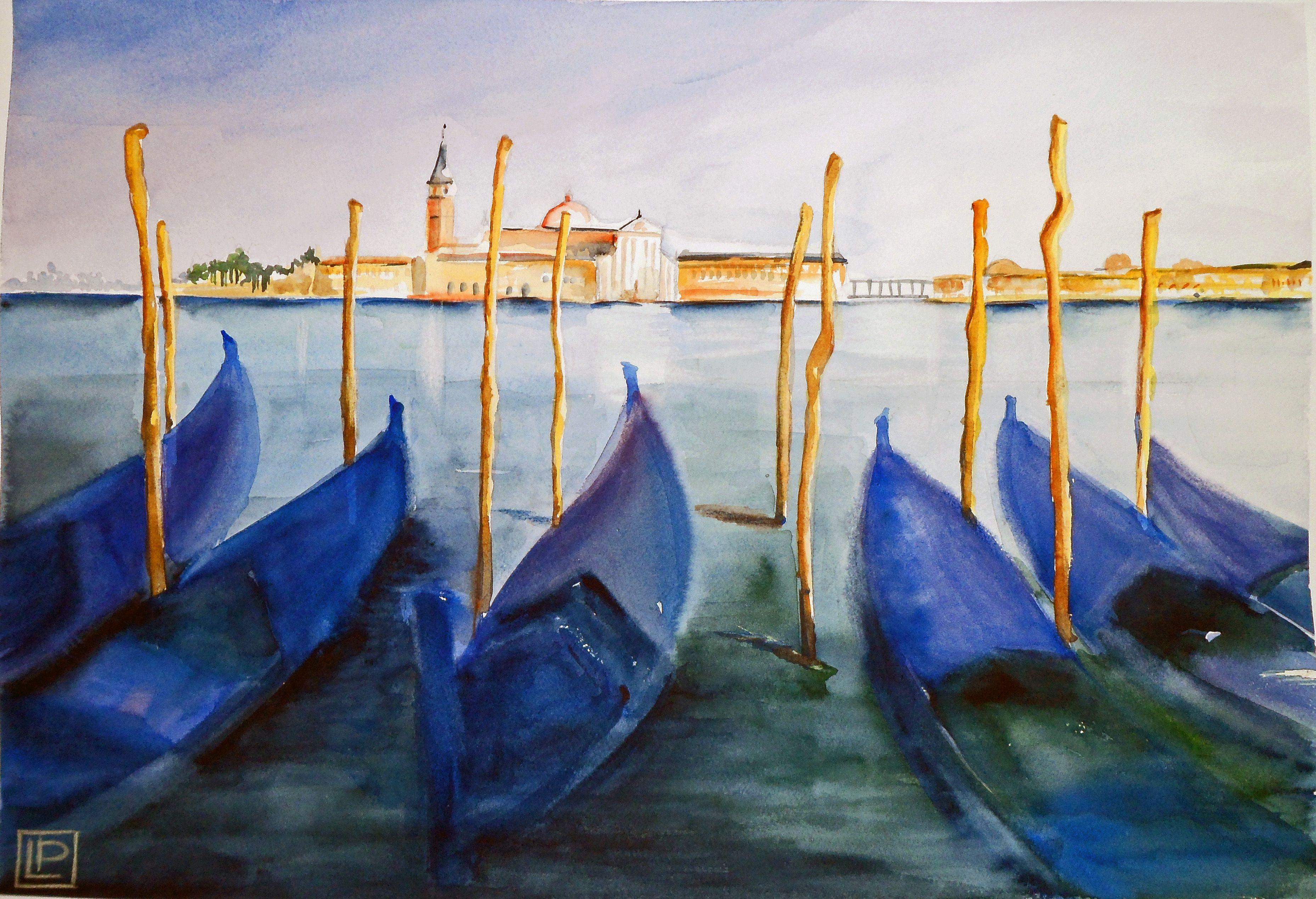 """""""gondole in ombra"""" acquerello di Lorenza Pasquali 35x51 cotone """""""