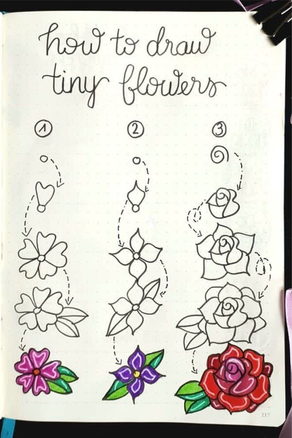 17 Amazing Step By Step Flower Doodles For Bujo Addicts is part of Flower doodles, Bullet journal ideas pages, Flower drawing, Bullet journal doodles, Bullet journal aesthetic, Bullet journal notebook - Looking to decorate your bullet journal with some cute flower doodles!  These amazing step by step tutorials will give you inspiration to get started!