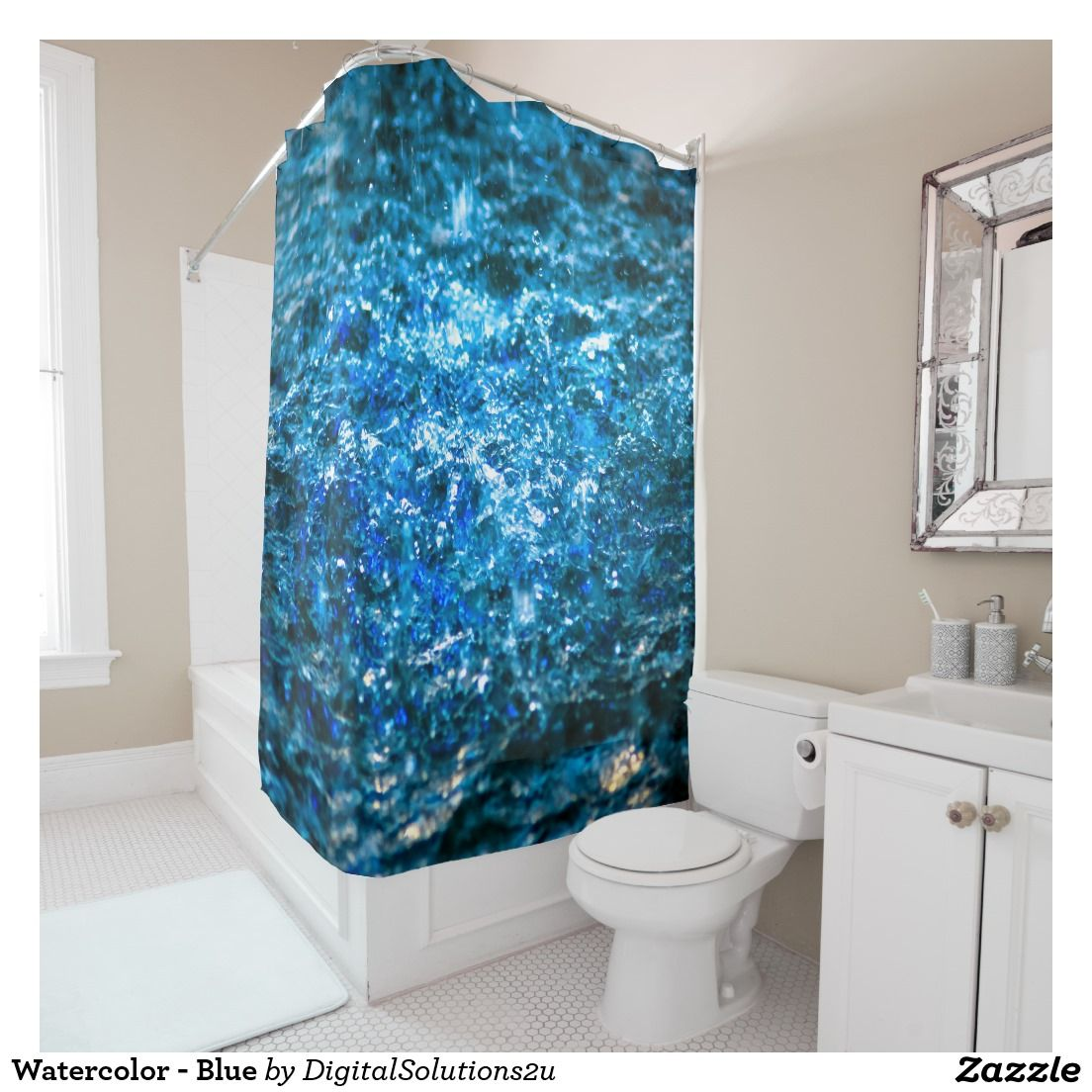 Watercolor blue shower curtain mats rugs curtains tapestry