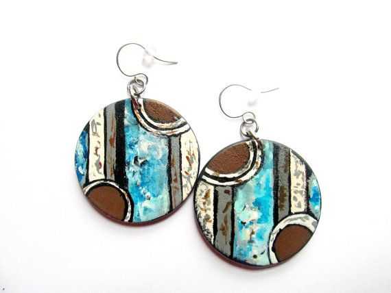 Blue and Brown Handpainted Abstract Geometric by MBsArtisticJewely