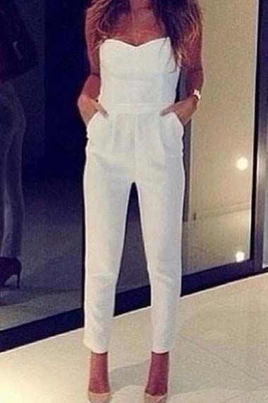 White Chic Middle Waist Sexy Jumpsuit