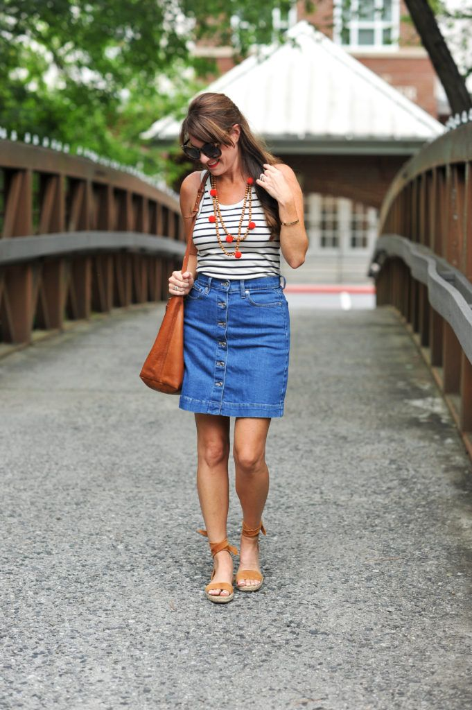 f71ded48f How to wear a denim skirt via Peaches in A Pod blog. Denim and stripes to  usher out the summer.