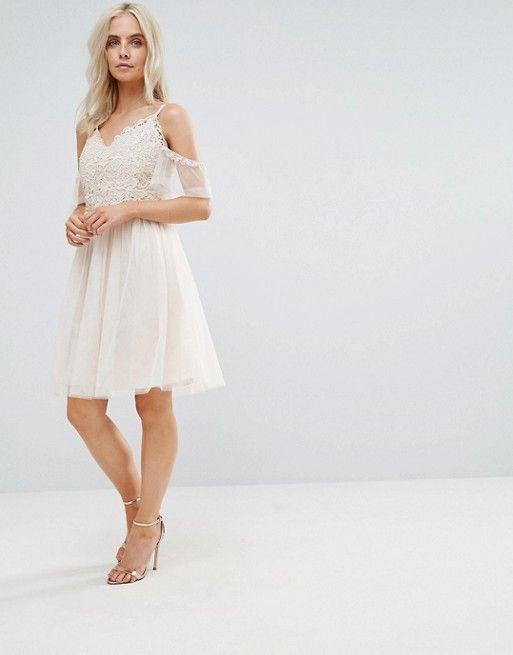 4c8c7ab44e Little Mistress Petite Cold Shoulder Lace Top Mini Prom Skater Dress in  white | Lined crochet-lace top, v-neck, adjustable straps, lined mesh skirt.
